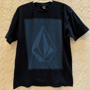 Volcom black t-shirt with large blue logo print